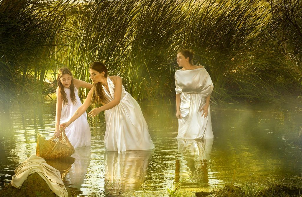 Daughter of Pharaoh And the daughter of Pharaoh came down to bathe in the river; and her maidens walked along by the river-side; and she saw the ark among the flags״ Exodus 2 5