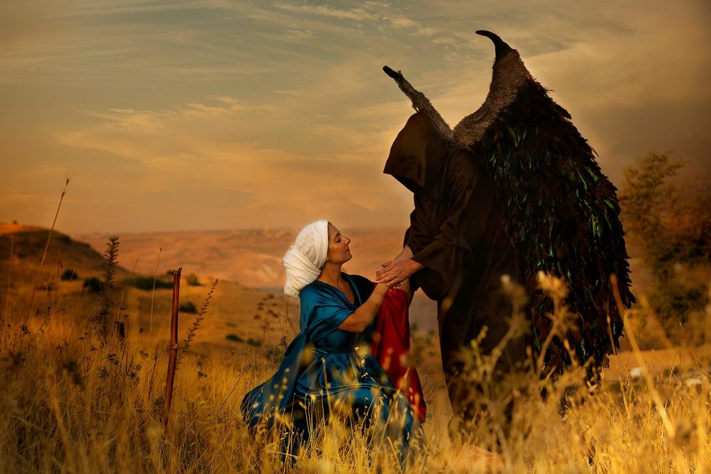 """Manoah's Wife """"and the angel of God came again unto the woman as she sat in the field; but Manoah her husband was not with her."""" Judges 13, 9"""
